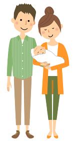 赤ちゃんと夫婦 親子