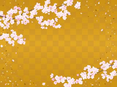 市松模様の背景と桜