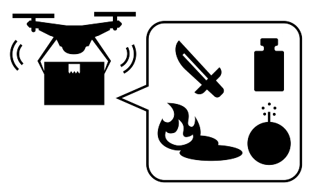 ドローンの法規制、危険物輸送の禁止を示すシンプルなアイコン