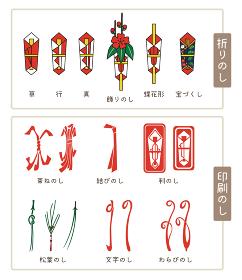 色々な熨斗のイラスト、折りのし、印刷のし