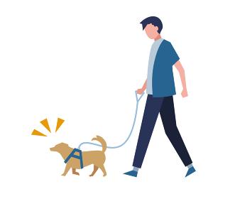 犬と散歩する男性 人物フラットイラスト