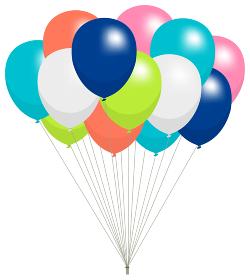空に浮かぶカラフルなゴム風船のイラスト