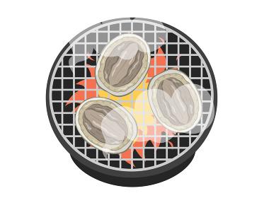 七輪で焼くアワビのイラスト
