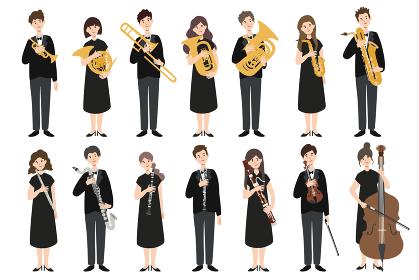 楽器を持った男女の演奏家たち
