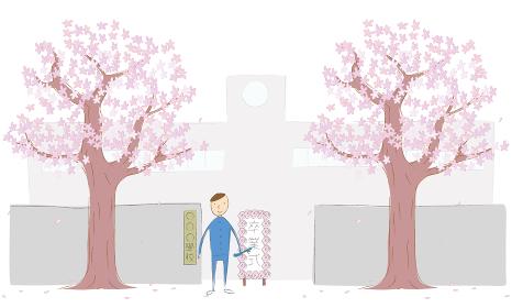 桜の木と学校の正門と男子生徒