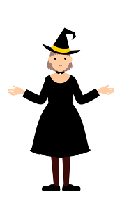 ハロウィンの仮装、魔女姿の女の子が両腕を広げるポーズ