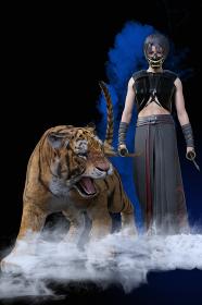 大きな迫力のある虎と鬼の面をかぶり顔を隠している若い忍者が両手に刀を持ち煙の中から歩いてくる