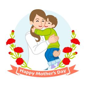 息子を抱きしめる母親- 母の日コンセプトイラスト