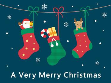 クリスマスカード 靴下とプレゼント