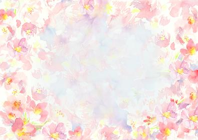 水彩で描いた桜の背景イラスト