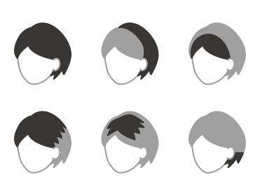ショートヘア用のウィッグの種類 顔なしアイコン