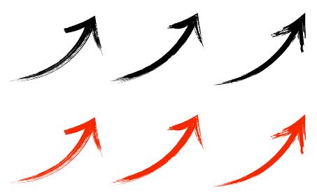 筆で書いた和風の矢印セット