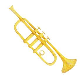 トランペット 楽器 オーケストラ 水彩 イラスト
