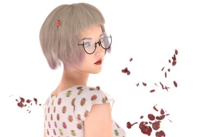 頭にてんとう虫がとまっているショートヘアの女性の花びらが舞う幻想的な一瞬