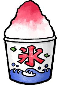 【手描きベクター食べ物イラスト素材】いちご味のかき氷のイラスト【縁日・お祭り・屋台の食べ物】