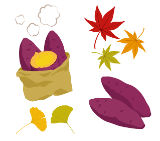 焼き芋と紅葉のイラストセット