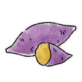 焼き芋 さつまいも イラスト 水彩 手描き 素材