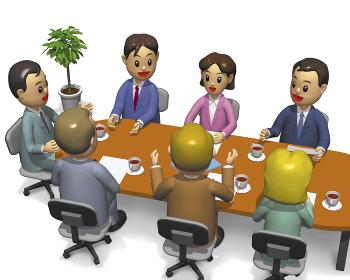 外国人を交えた7人の会議俯瞰アングル