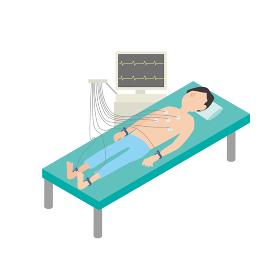 心電図検査を受ける男性