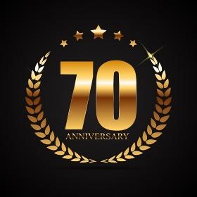 Template Logo 70 Years Anniversary Vector Illustration EPS10. Template Logo 70 Years Anniversary Vector Illustration