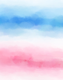 背景素材 水彩絵具で描いた淡いストライプ 青 ピンク