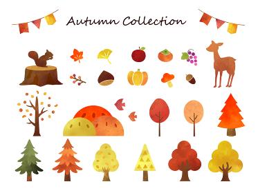秋の水彩イラスト素材