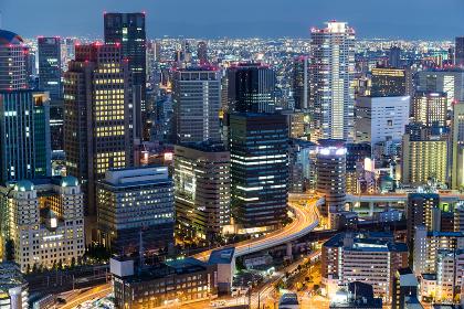 Osaka, japan, 13 September 2015:- Osaka city urban city at night