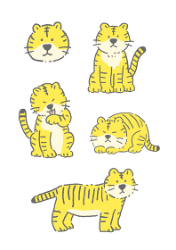 年賀状 ゆるくてかわいい虎のイラストレーションセット