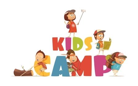 Camping Kids Concept . Camping kids concept with archery and map symbols cartoon vector illustration