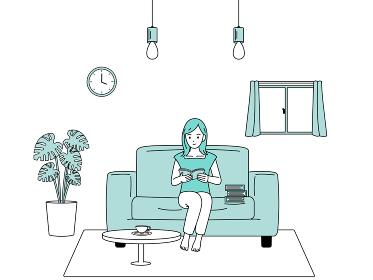 リビングで読書をする女性のイラスト