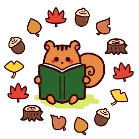 読書の秋 本を読むリス