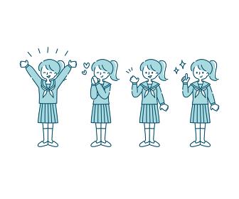 セーラー服(冬服)を着た女子学生の感情表現イラスト(全身)