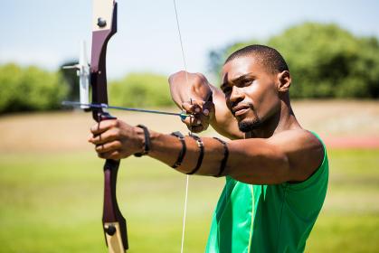 Athlete practicing archery