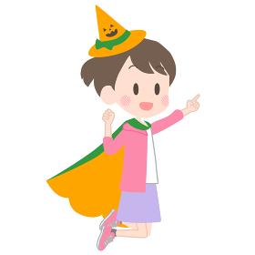 ハロウィンの仮装をする子供