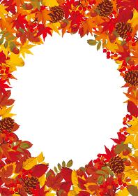 もみじと秋の落ち葉 フレーム