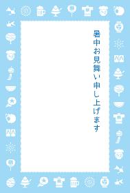 暑中見舞いイラスト、日本の夏の風物詩
