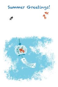 パステル画風金魚模様の風鈴と夏空の涼しげな暑中見舞いイラスト