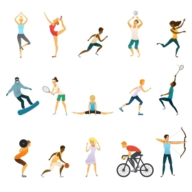 Sport People Flat Color Icons. Sport people flat colored icons set of young men and women doing yoga and gymnastics playing tennis football volleyball isolated vector illustration