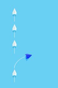 列からはみ出る紙飛行機 2 縦位置