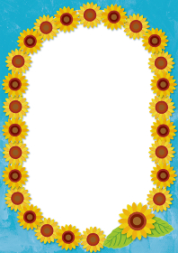夏のイメージの手描きタッチのヒマワリ向日葵の背景イラスト暑中見舞い|楕円フレーム暑中お見舞い