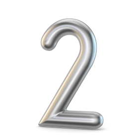 Metal silver font. Number TWO 2 3D