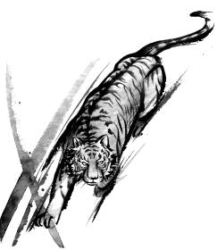 躍動感のある虎の水墨画