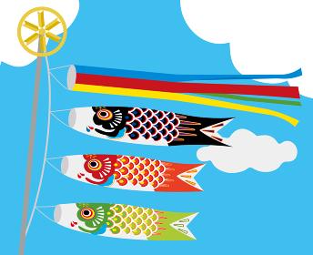 子供の日こどもの日端午の節句用イラストバナー|青空と白い雲吹き流しと鯉のぼり
