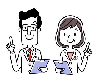 ベクター素材:笑顔の男性医師と女性医師