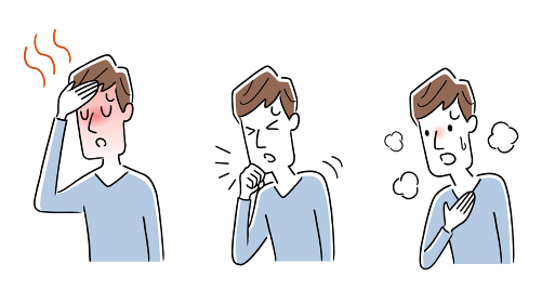 イラスト素材:新型コロナウイルスの症状、男性