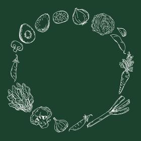野菜の手描きイラスト サークルフレーム