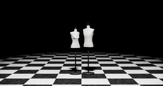 白黒の市松模様の床に男女のトルソーマネキン 3DCG