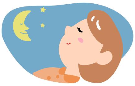 夜にぐっすり眠る女性のイラスト