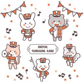 動物のマーチングバンド キャラクターセット 2色