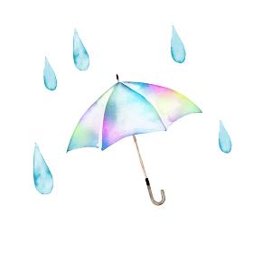 梅雨 傘 カラフル 水彩 イラスト